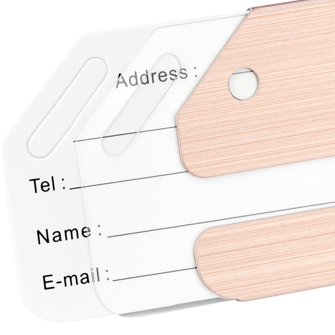 6 Rose Gold Brushed Aluminum Luggage Tags