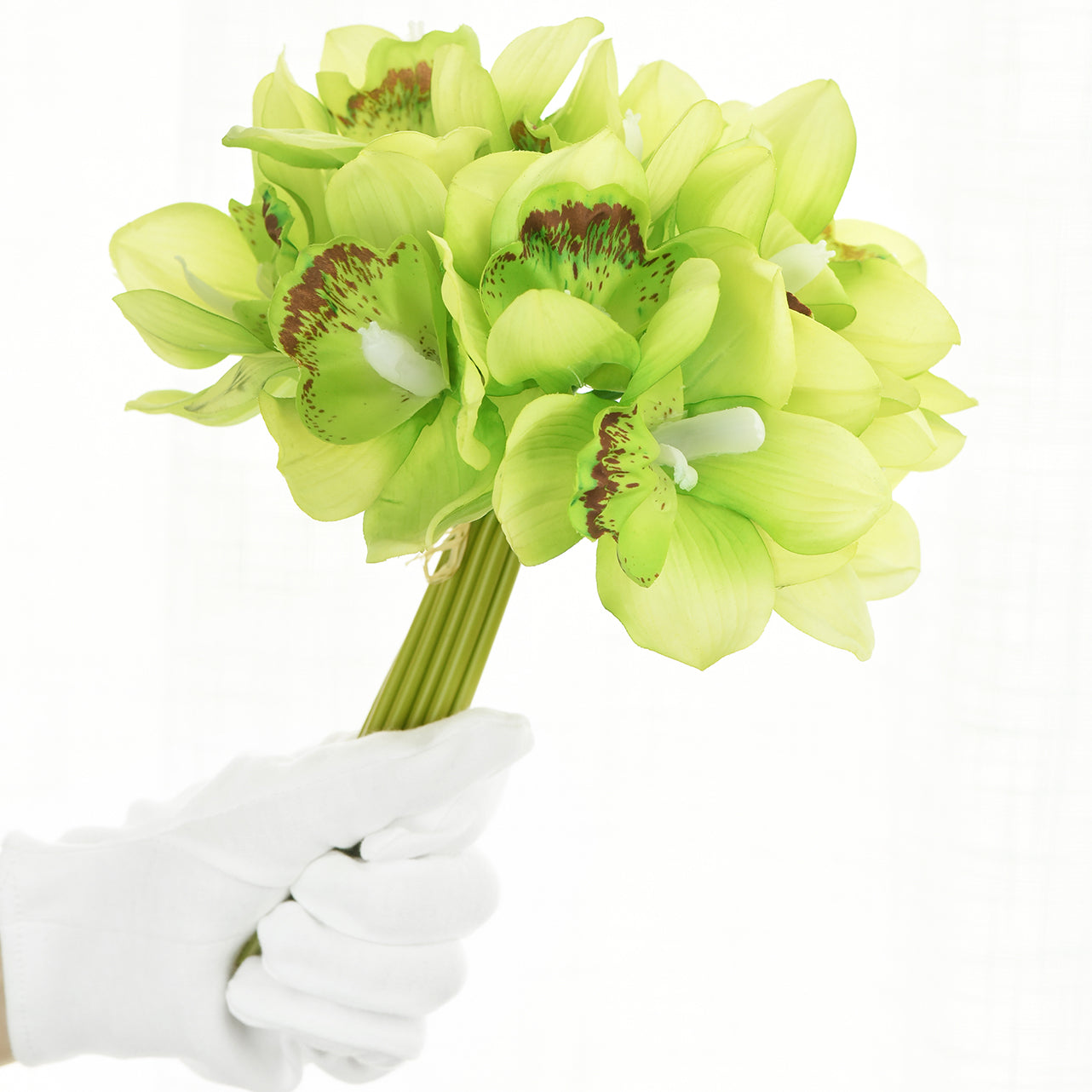 12 Stems Artificial Real Touch Green Cymbidium Flowers & Bouquet 9.1 Inches (23cm)