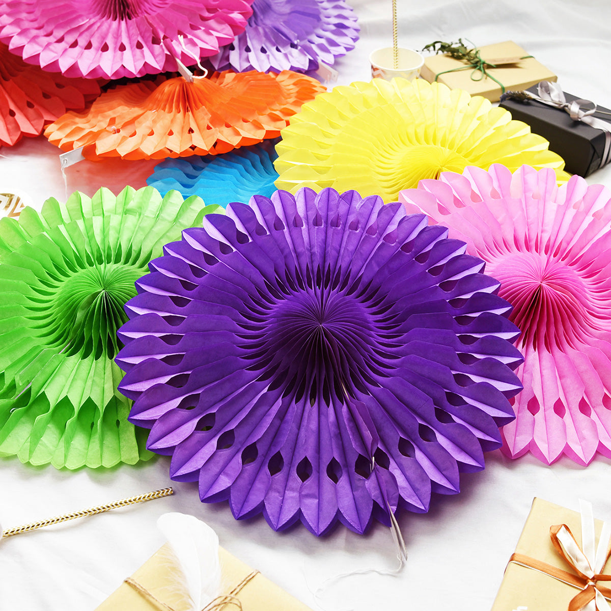 Purple Paper Fan Decoration Paper Rosette 5 Pieces