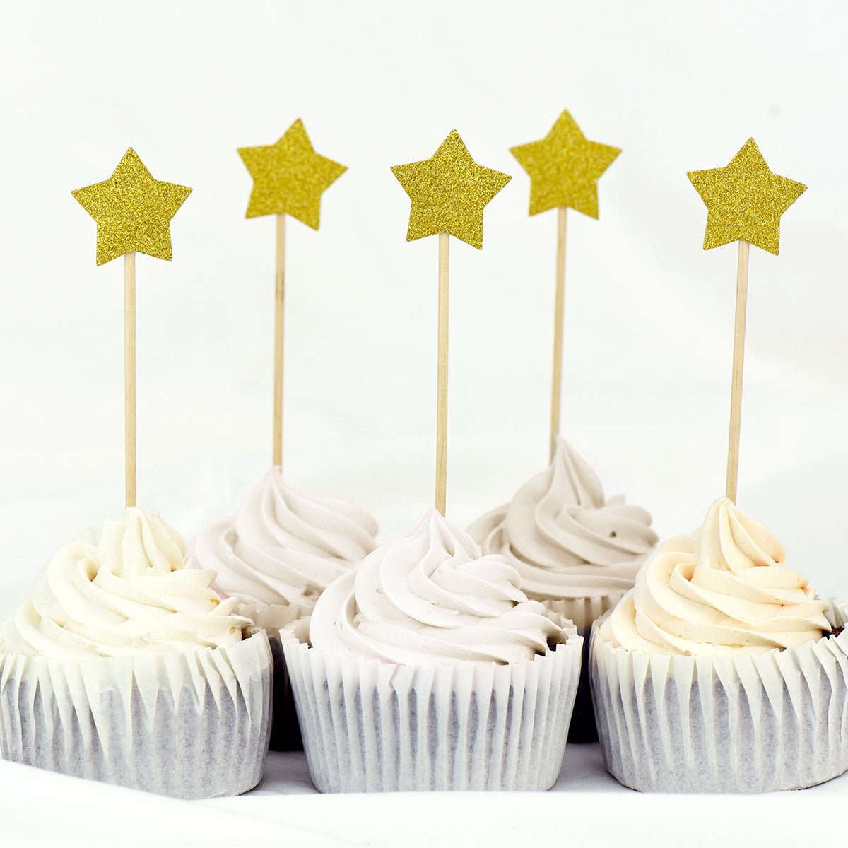 Gold Glitter Star Cake Toppers 50 Pcs