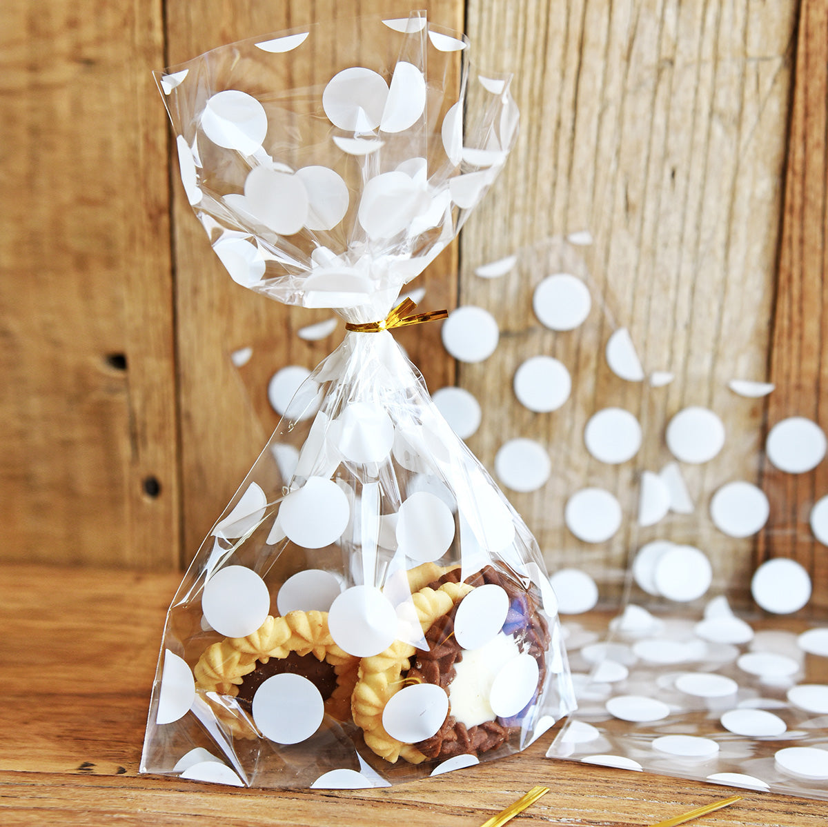 White Polka Dots Plastic Gift Bags 100 Pieces