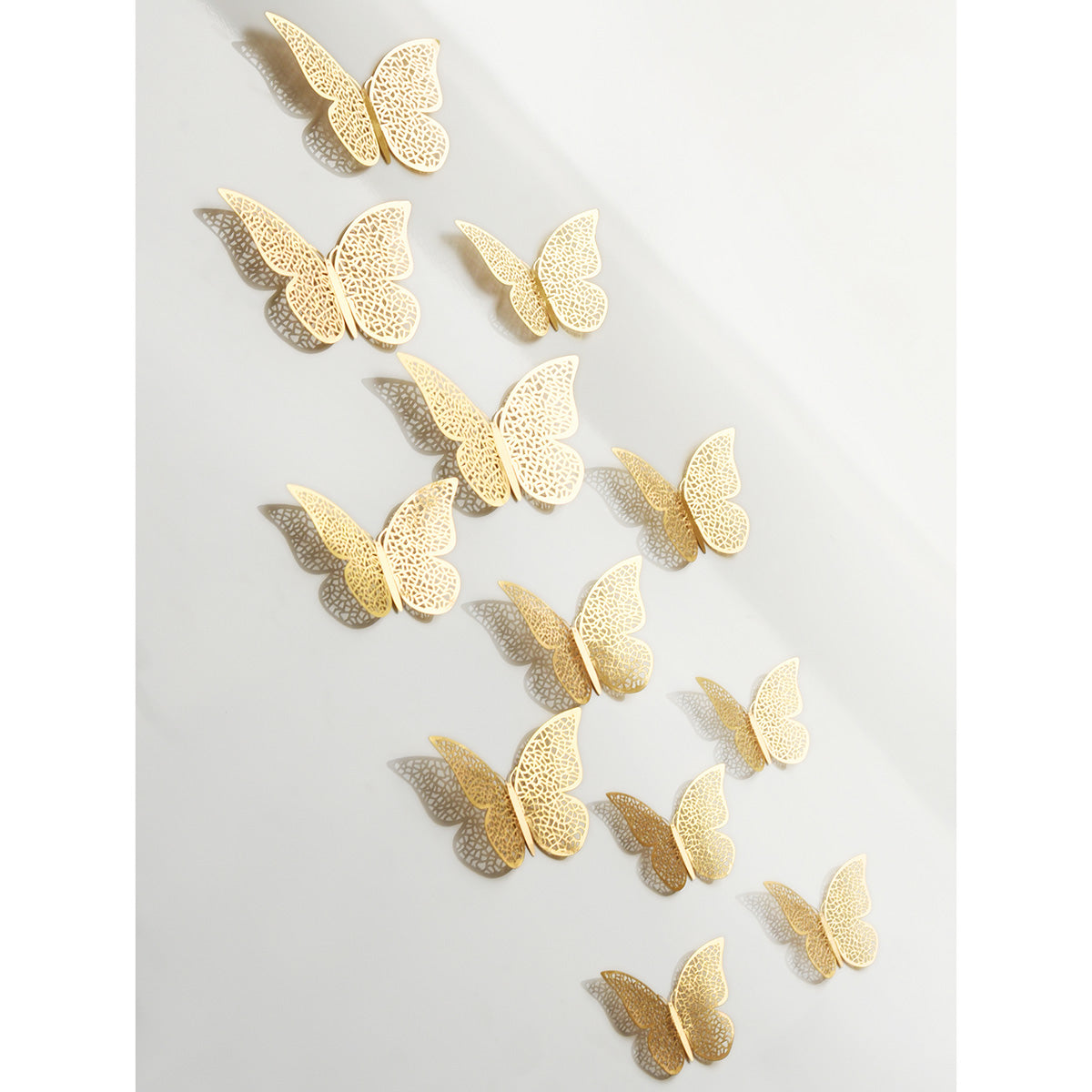 Gold Butterflies Wall Decorations Set - Nets Hollow Design