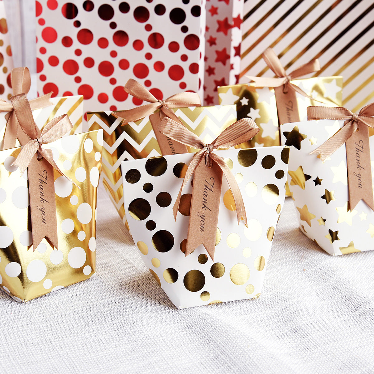 Gold & White Gift Boxes with 6 Designs 12 Pieces