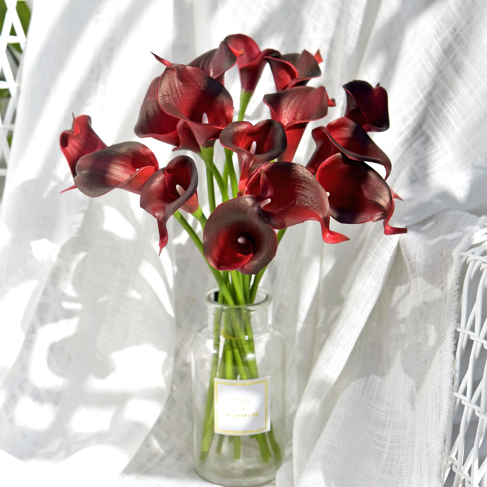 Dark Scarlet Real Touch Calla Lilies Artificial Flower Bouquet 10 Stems