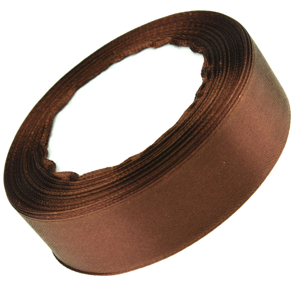 25mm Chocolate Single Sided Satin Ribbon