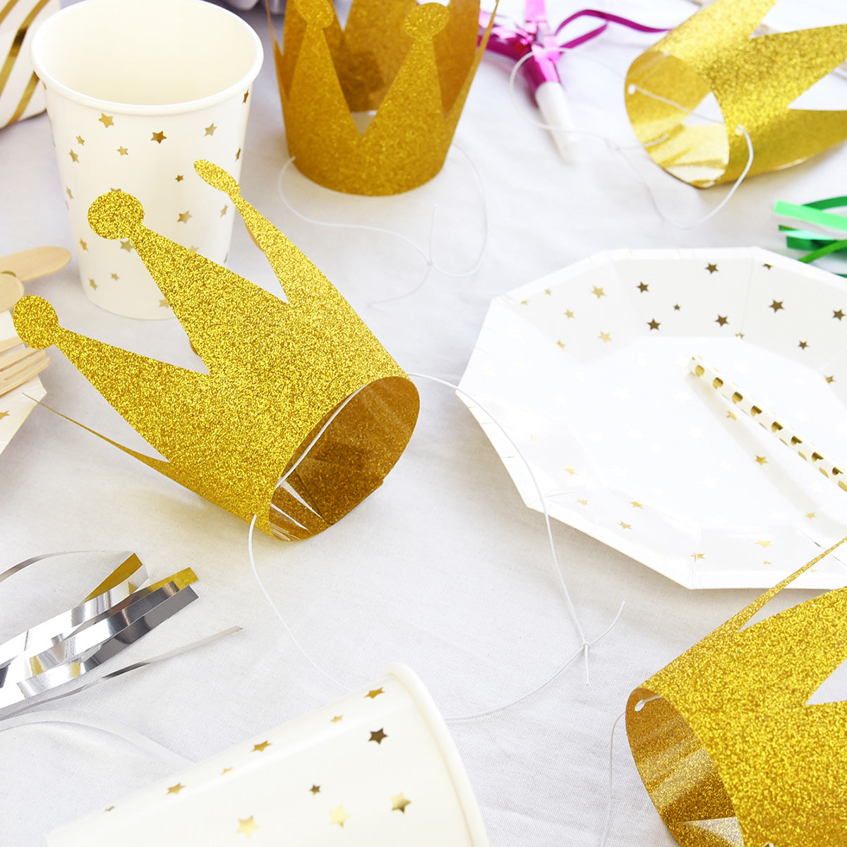 24 Golden Glittery (Princess + Prince) Crown Party Hats