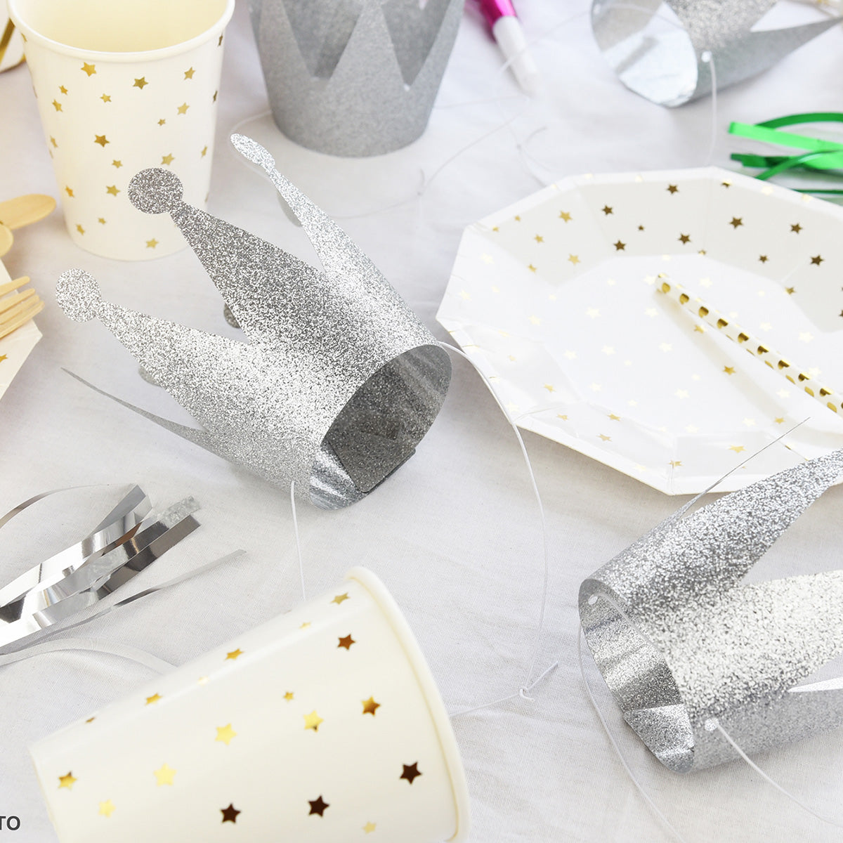 24 Silver Grey Glittery (Princess + Prince) Crown Party Hats