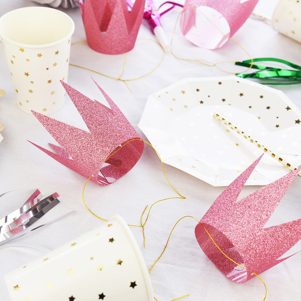 24 Pink Glittery (Princess) Crown Party Hats