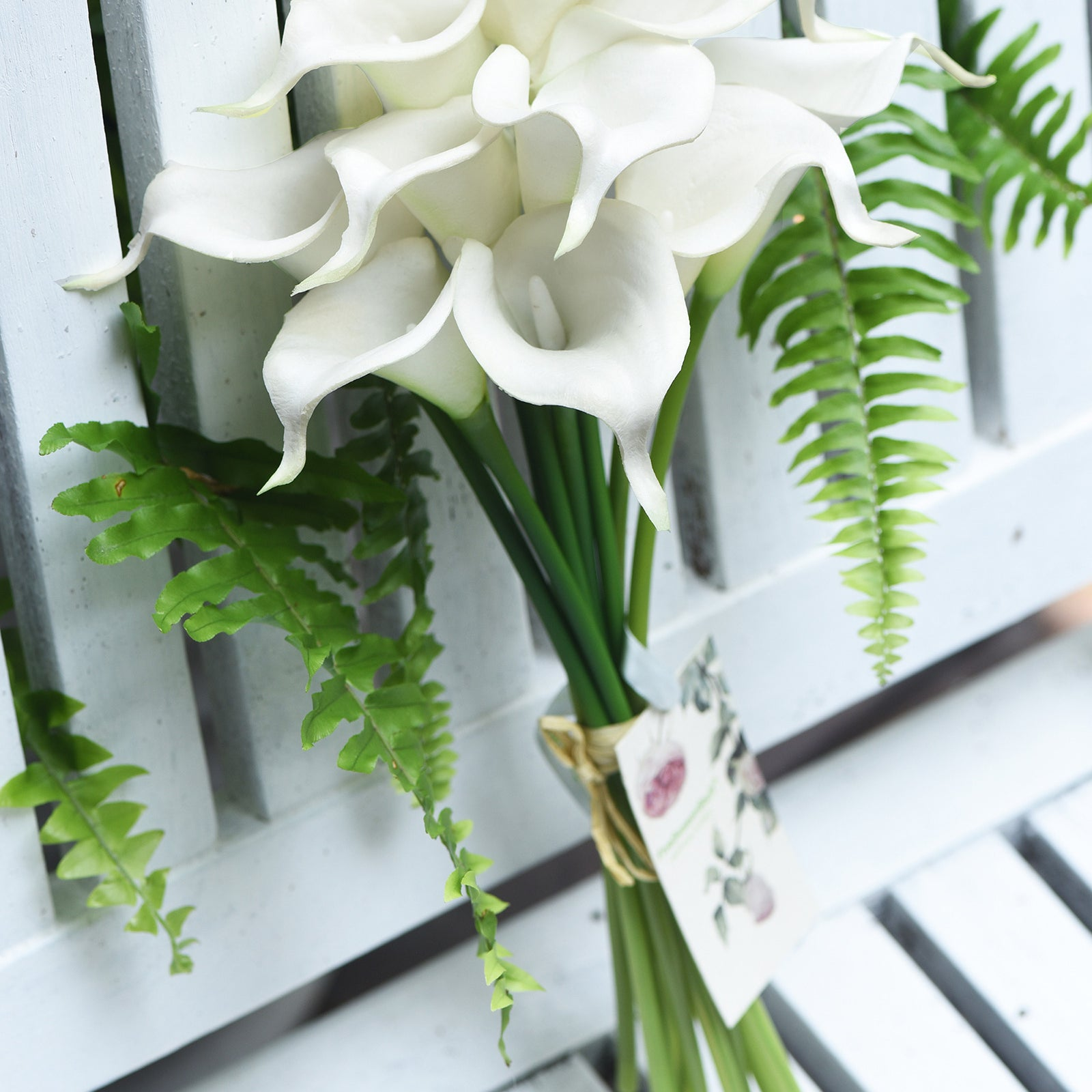 White Real Touch Calla Lilies Artificial Flower Bouquet 10 Stems
