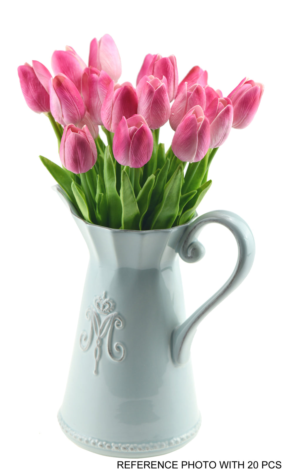 Magenta Pink Real Touch Tulips Artificial Flowers Bouquet 10 Stems