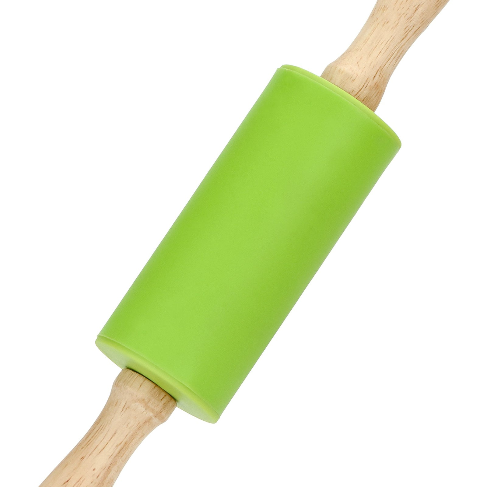 1X Wooden Handle Non-stick Silicone Rolling Pin Dough Roller Kitchen Tools RU