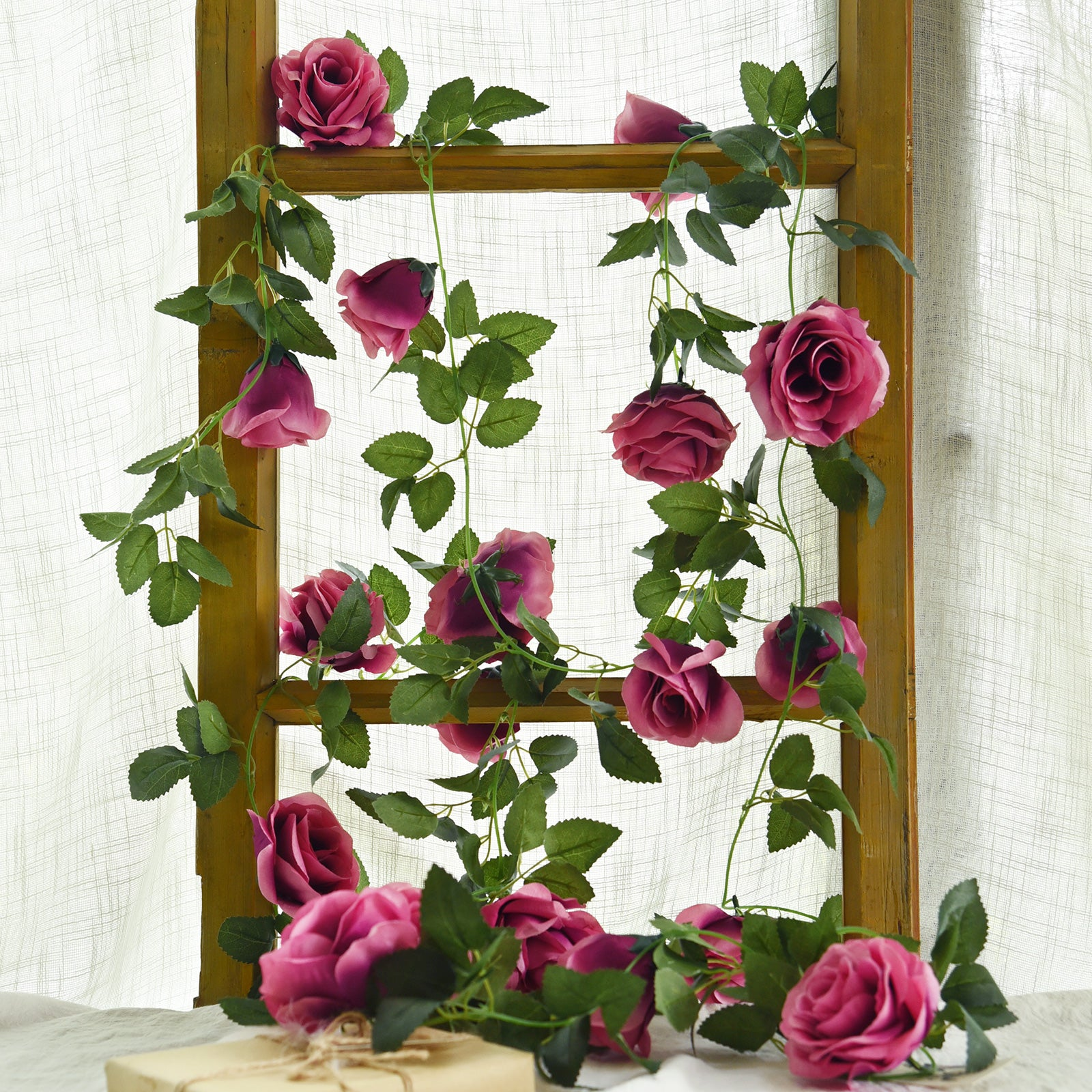 2 Pcs Raspberry Pink Artificial Silk Rose Garland Vine Plant Flower Leaves