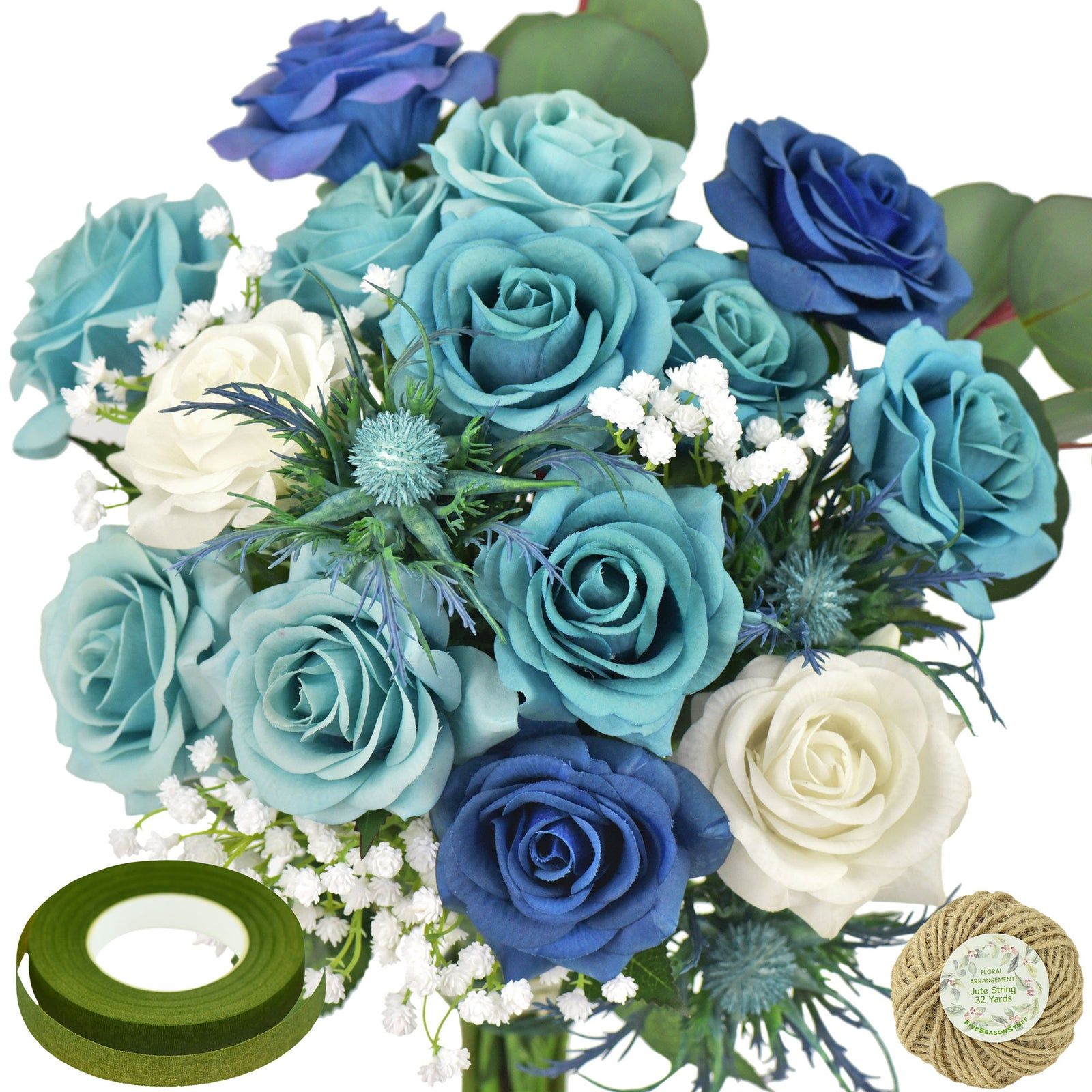 28 PCS DIY Set Real Touch Mix Blue Roses Sea Holly Thistle Artificial Flowers Arrangement Silk Bouquet for Gift Home Wedding Bridal FiveSeasonStuff