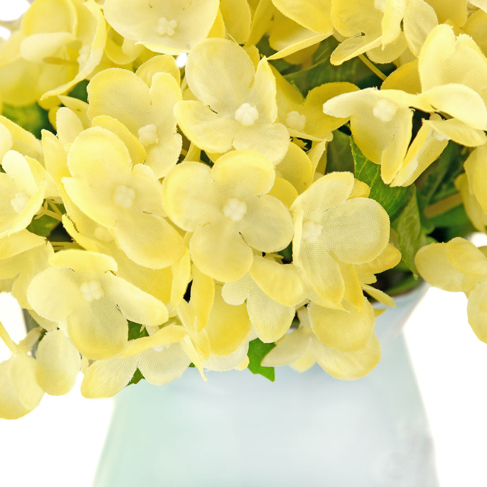 FiveSeasonStuff 15 Stems of 32cm (12.6'') Mini Artificial Hydrangea Flowers(Yellow), Bouquet, Floral Arrangement, Perfect for Wedding, Bridal, Party, Home, Shop, Office Décor, DIY Floral Arrangement Decoration