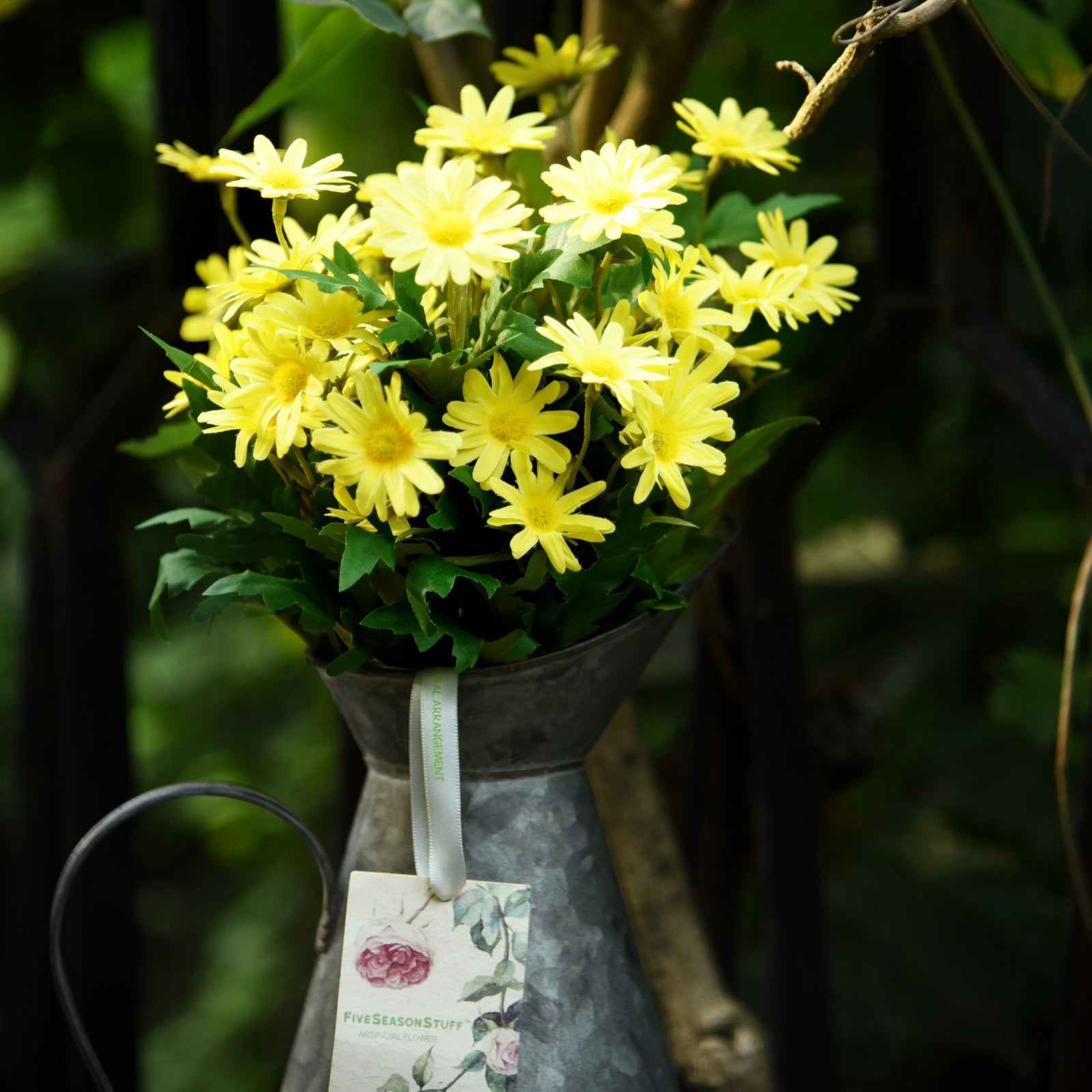 Daisy Silk Flowers Outdoor Artificial Flowers Arrangements (Sunny Yellow) 2 Bunches