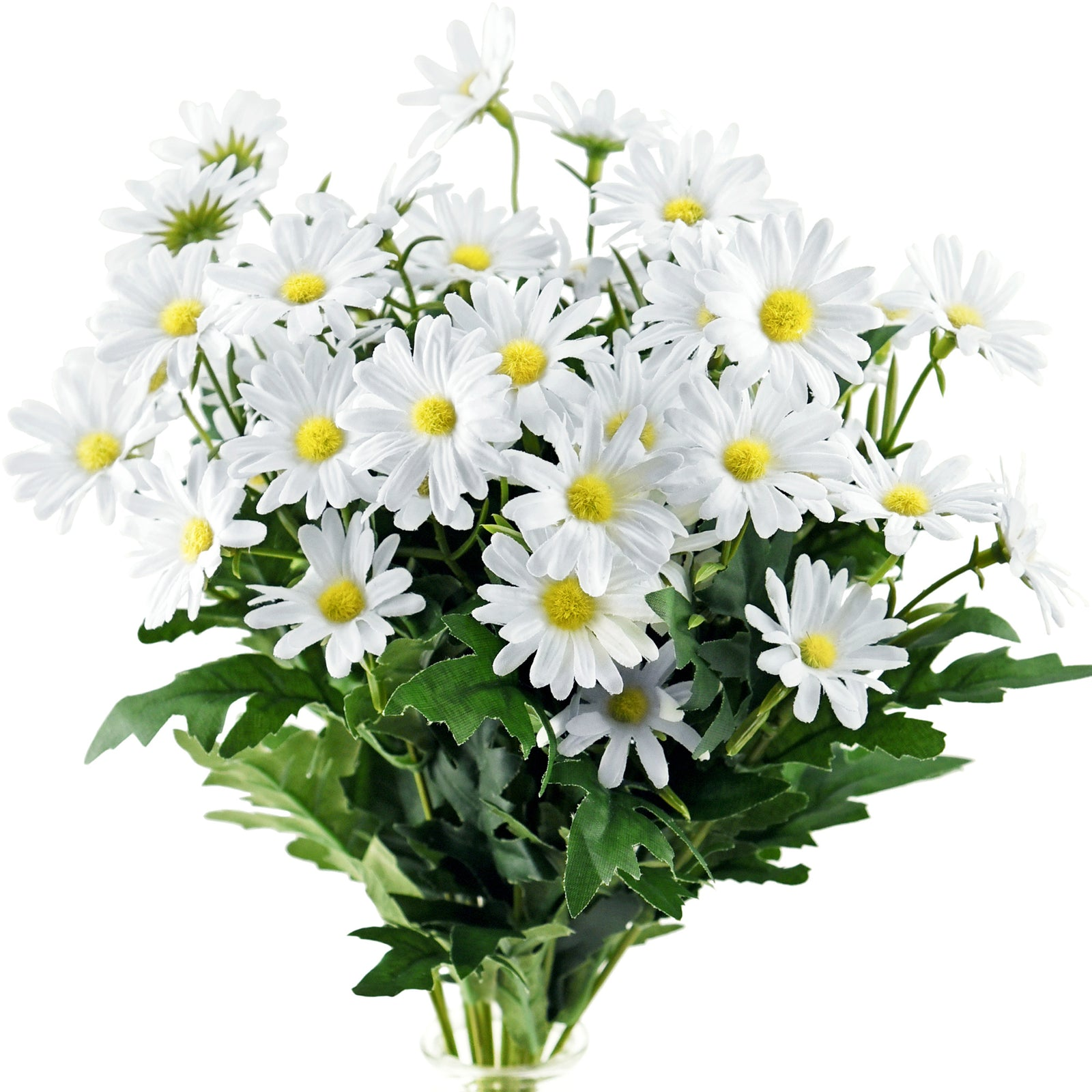 Daisy Silk Flowers Outdoor Artificial Flowers Arrangements (Simply White) 2 Bunches