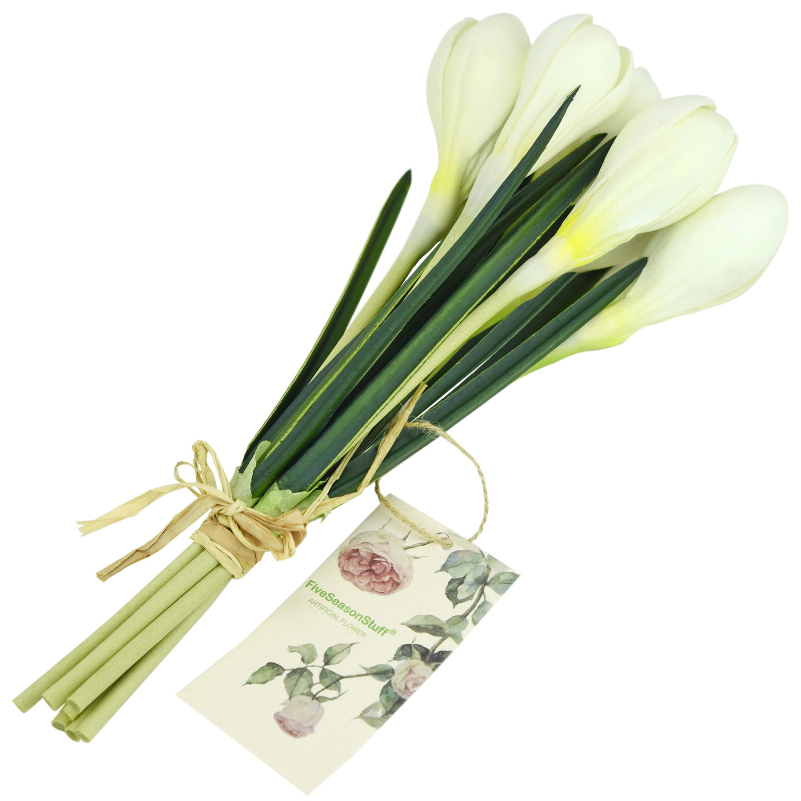 7 Stems (White) Realistic Artificial Saffron Crocus Flowers