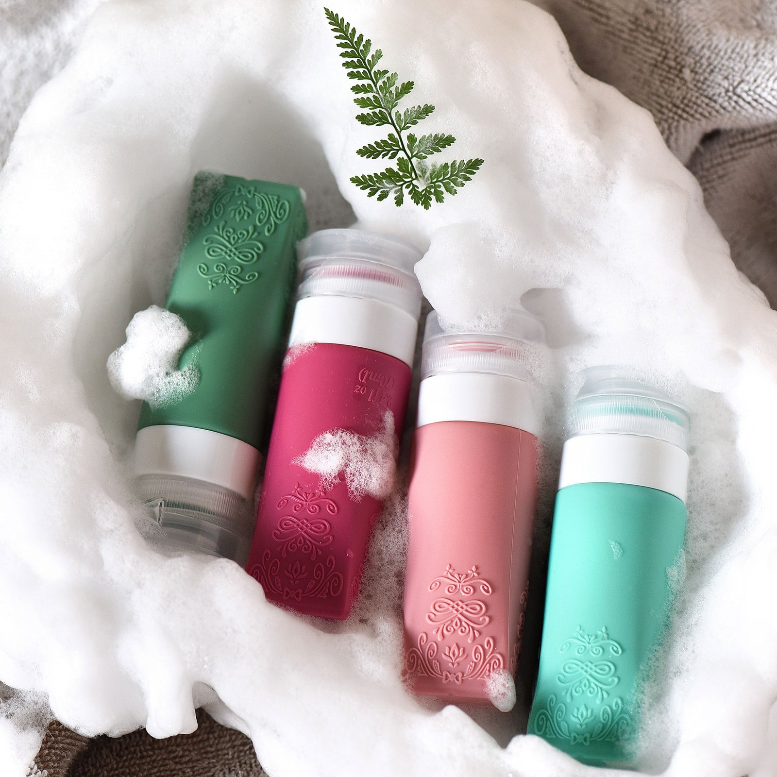 FiveSeasonStuff TSA Approved Silicone Leak Proof Travel Squeeze Bottles and Travel Spray Bottle with TSA Toiletry Bag (7 Pack)Summer Party (Aqua Green, Wild Pink, Forest Green & Cerise Pink) Vintage Series