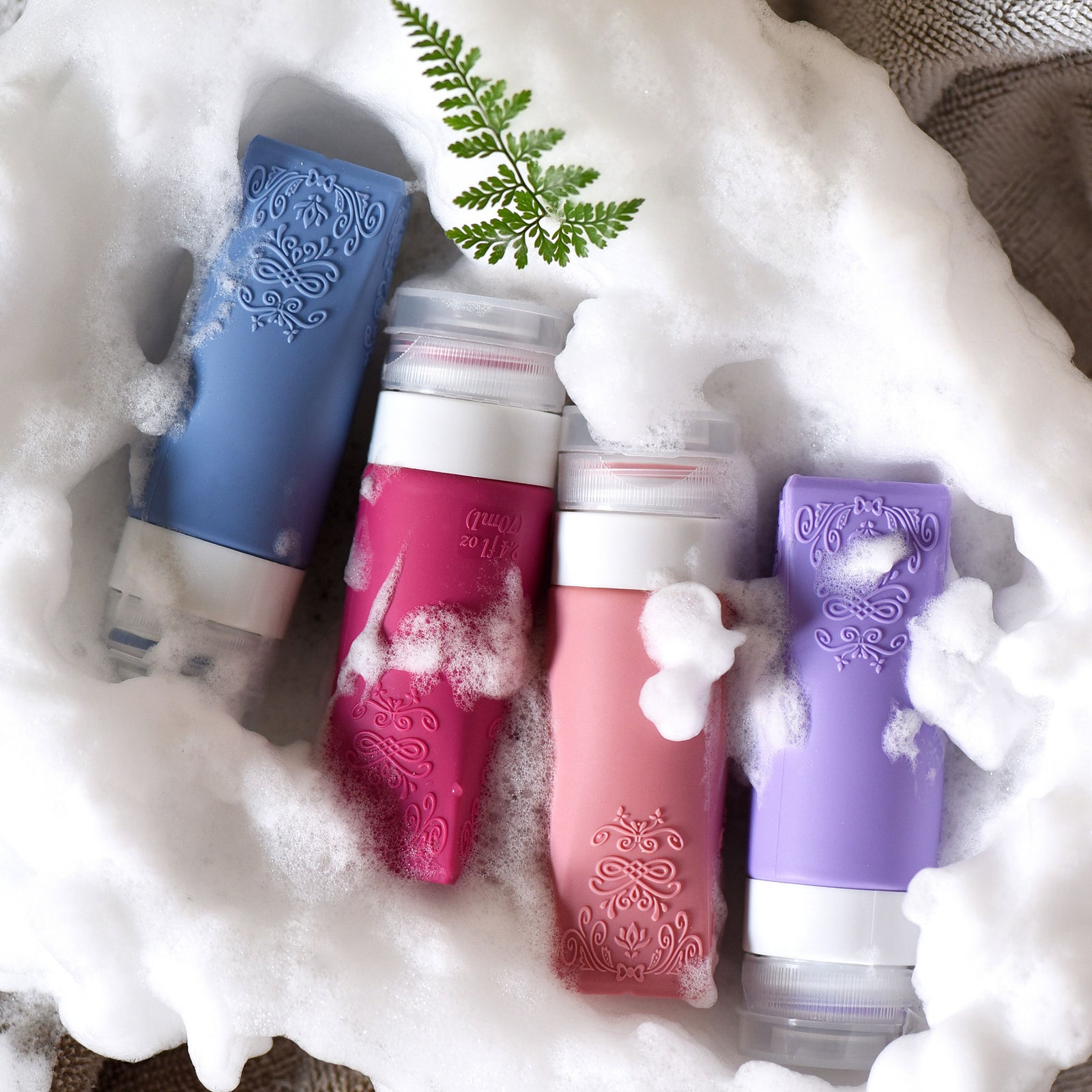 FiveSeasonStuff TSA Approved Silicone Leak Proof Travel Squeeze Bottles and Travel Spray Bottle with TSA Toiletry Bag (7 Pack) Mystical (Aqua Blue, Bright Lavender, Cerise Pink & Wild Pink) Vintage Series