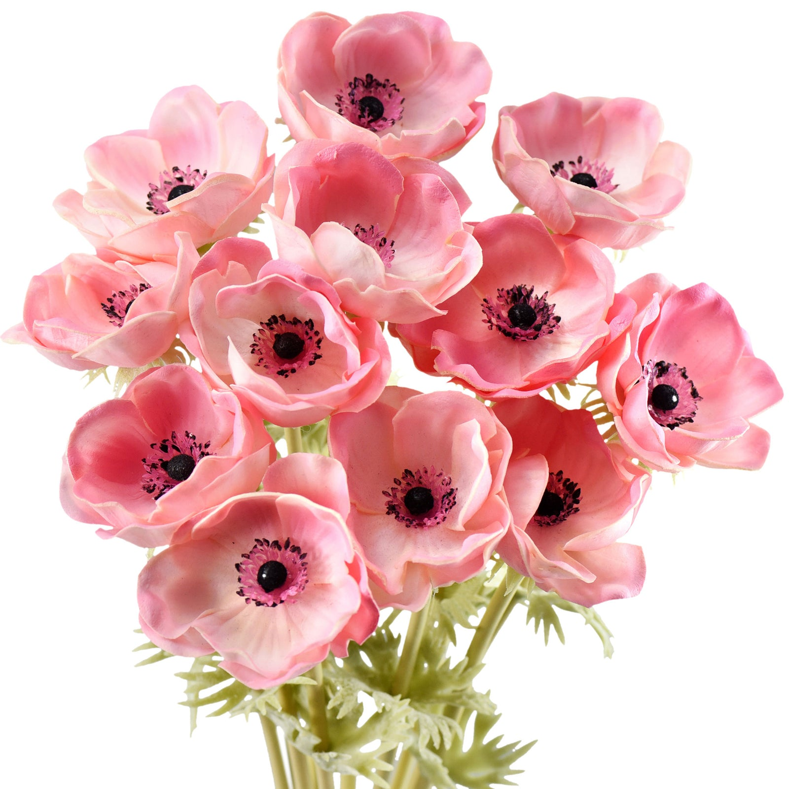 12 Long Stems of 'Real Touch' Artificial (Pink) Anemone Flowers, Wedding Bouquet Flower Arrangement, 45cm (17.7 inches)