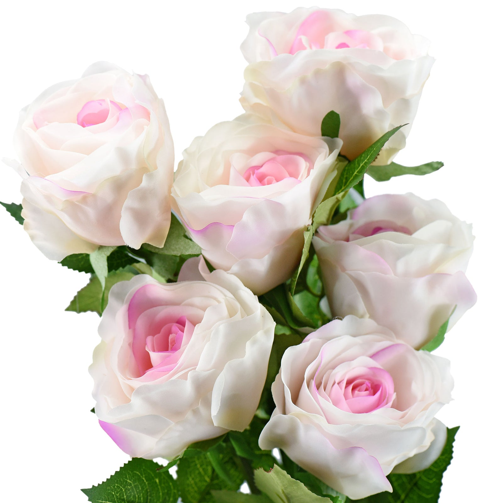 FiveSeasonStuff Premium Quality Large Bloom Pink Ecuadorian Roses Real Touch Silk Artificial Flowers 'Petals Feel and Look like Fresh Roses' 6 Stems