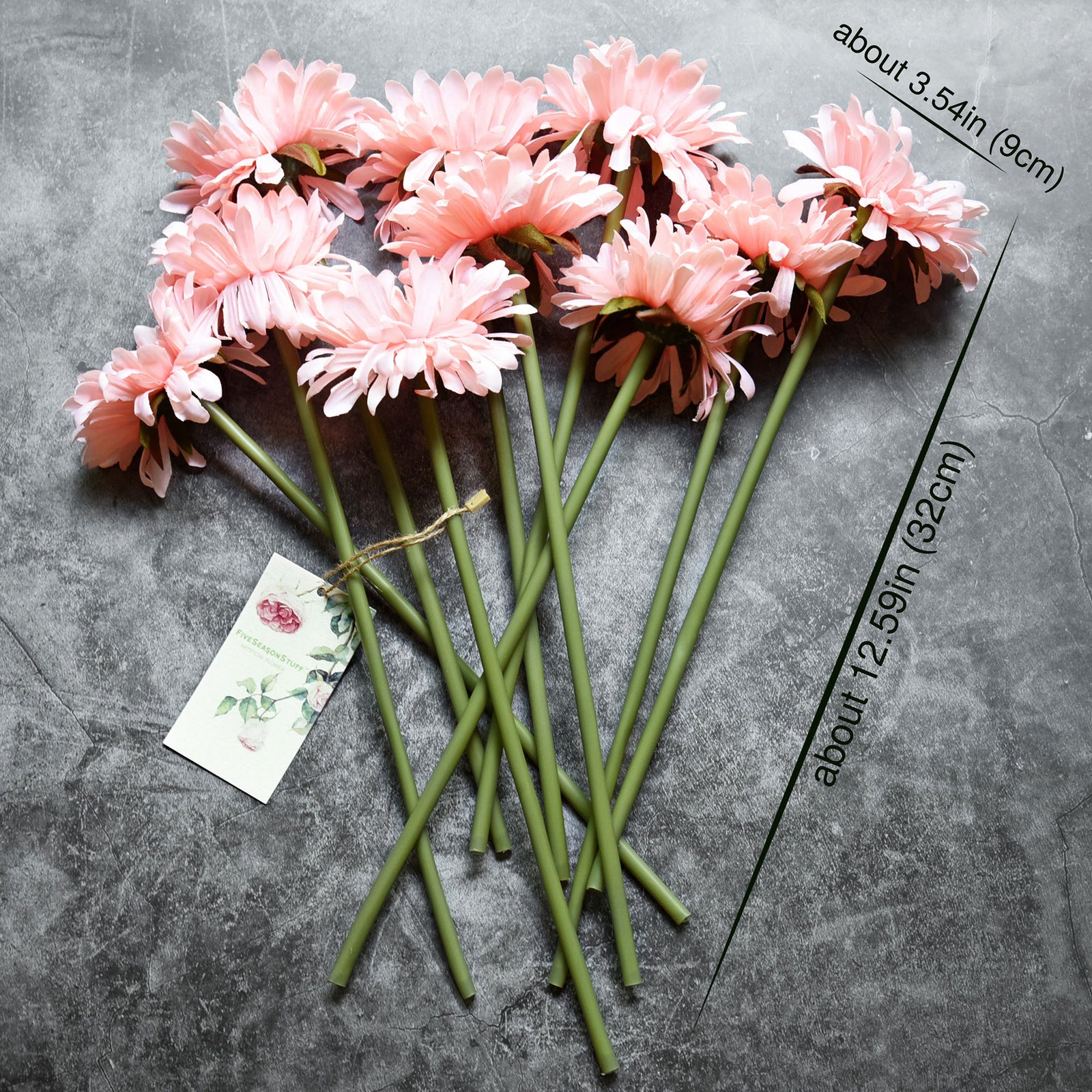 FiveSeasonStuff 10 Stems of Artificial Silk Gerbera Flowers & Bouquet, for Home Décor/DIY Flower Arrangement Decoration, 32cm (12.6 inches)