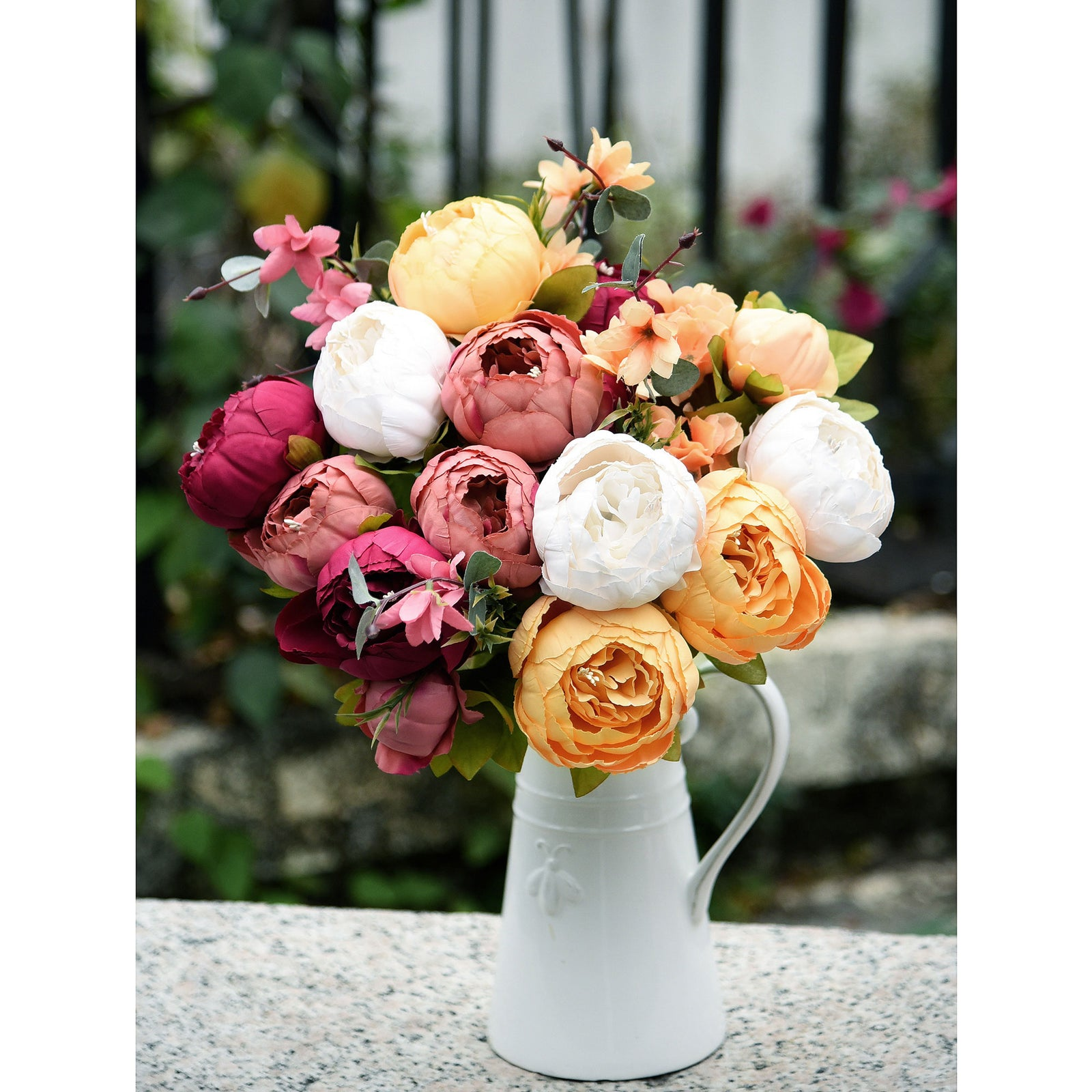 FiveSeasonStuff 2 Bundles (Country Delightful) Silk Peonies Artificial Flower Bouquet