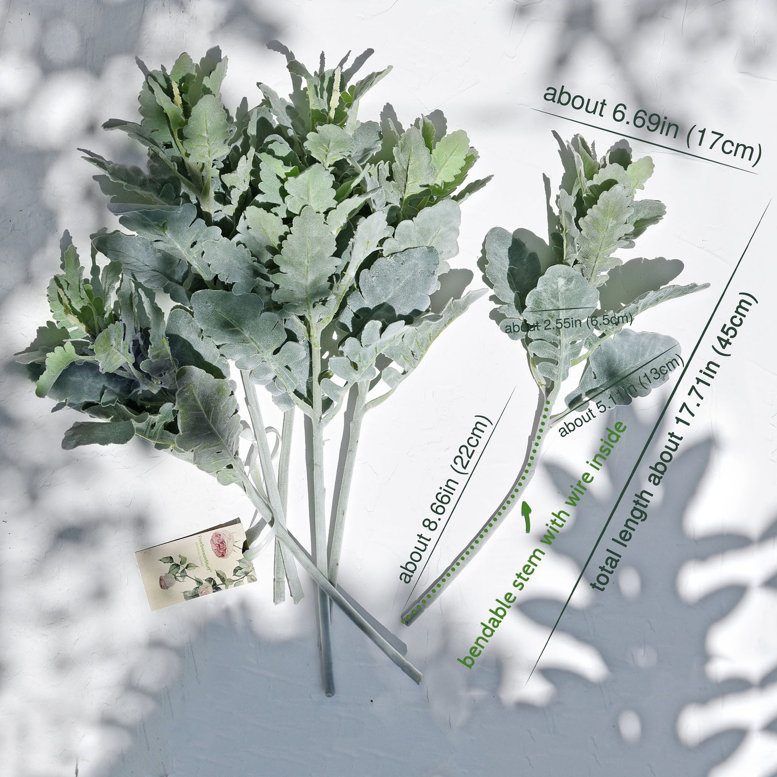FiveSeasonStuff Dusty Miller Artificial Greenery Bush Plants for Wedding Flower Fillers DIY Bouquets and Floral Arrangements (6 Stems 18 inches Tall)
