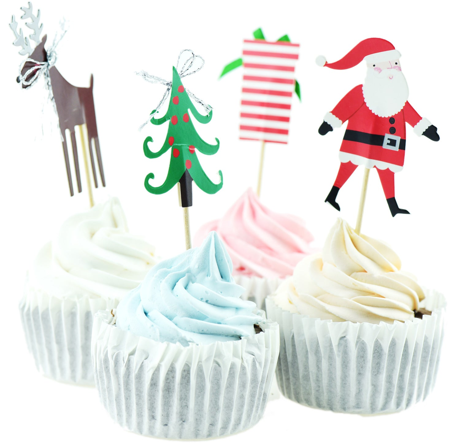 FiveSeasonStuff Christmas Themed (Santa Claus, Reindeer, Gift Box, Christmas Tree) Cake Toppers Sticks Toothpicks Decorations for Sandwiches Canopes Appetisers Muffins Cupcakes Cakes Desserts etc