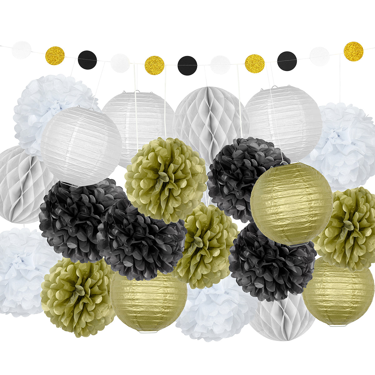 A party decoration set combine of 12 tissue paper pom poms, 6 lanterns, 4 honeycomb ball and a circle paper garland in gold, black and white color.