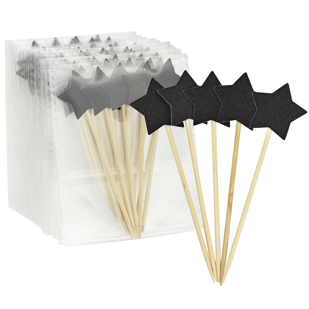 Five pieces of black star wooden cake topper picks, with 9 packs of the star topper picks behind.