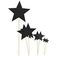 Black Star Cake Toppers 7 Pieces