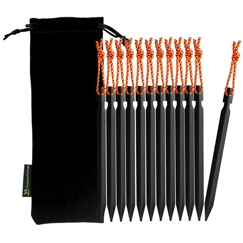 Black drawstring pouch and 12 pieces of black tent stakes with orange reflective ropes attached