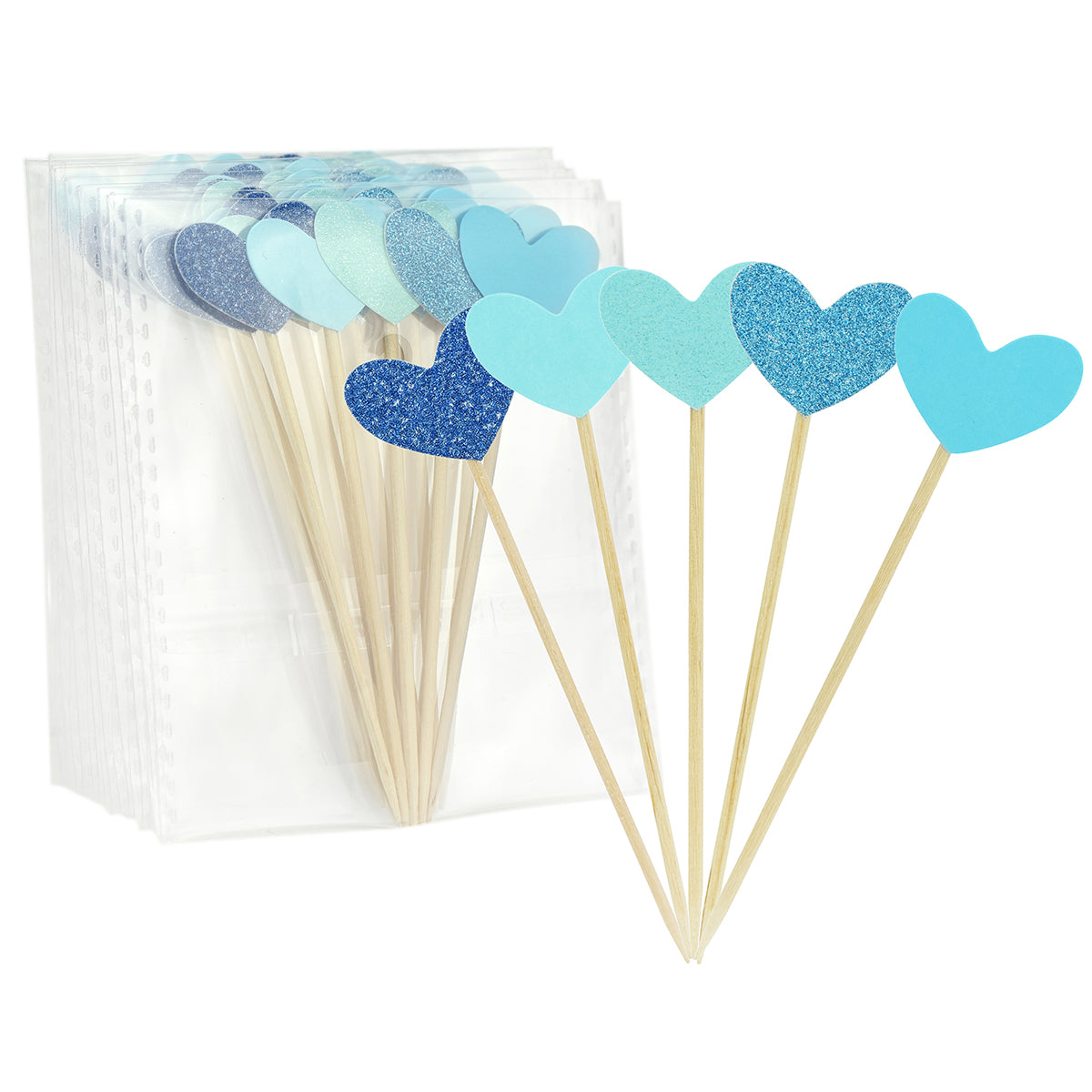 Blue Hearts Cake Topper Picks 50 Pieces