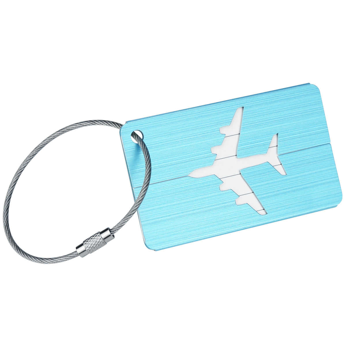 A blue brushed aluminum luggage tag with hollow airplane pattern display with a white background. The luggage tag has steel wire ring.