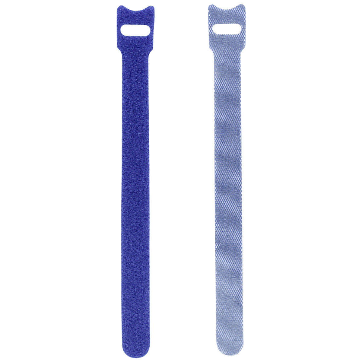 Displaying of two upright blue nylon cable ties