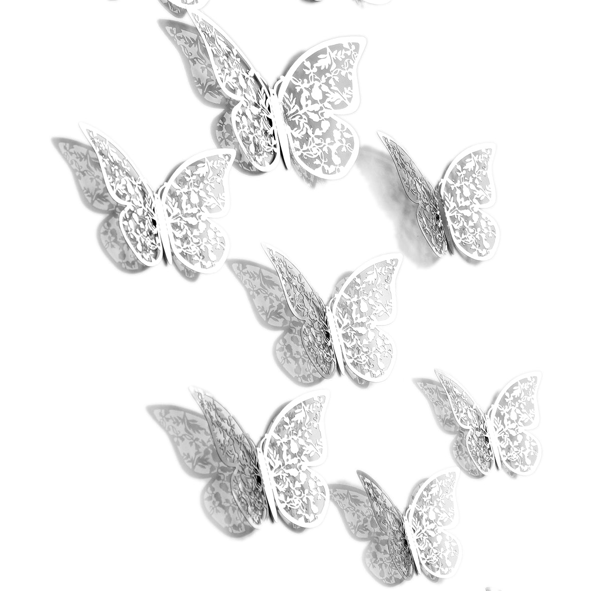 7 pieces silver butterflies with white background