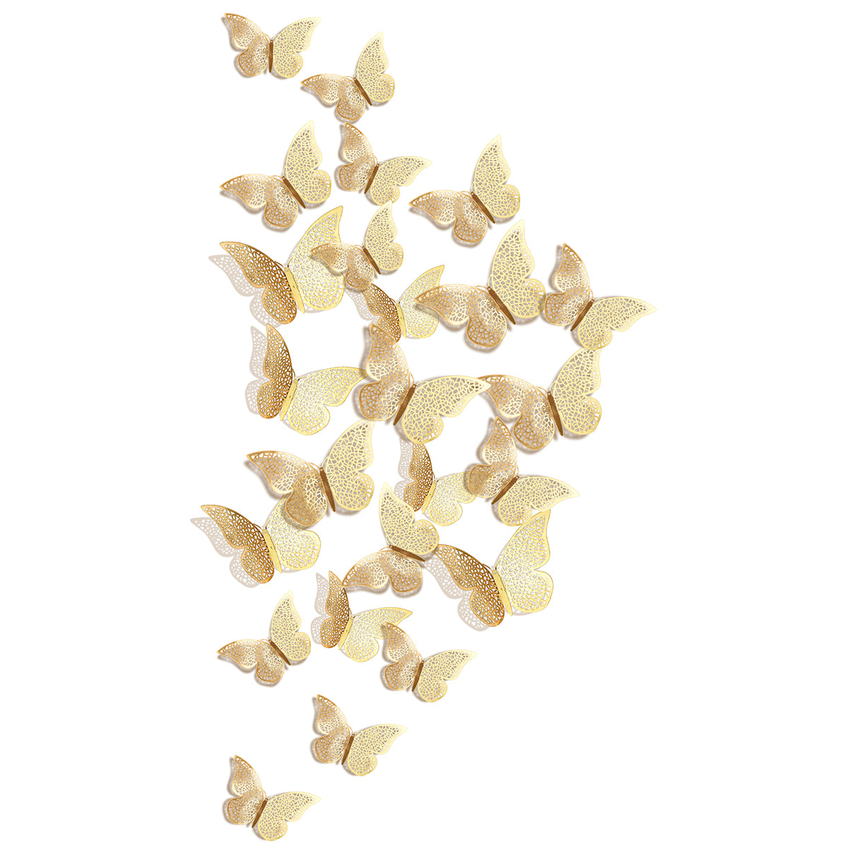 24 pieces of gold metallic butterflies with white background. The butterflies consist of 8 larges, 8 mediums, and 8 smalls
