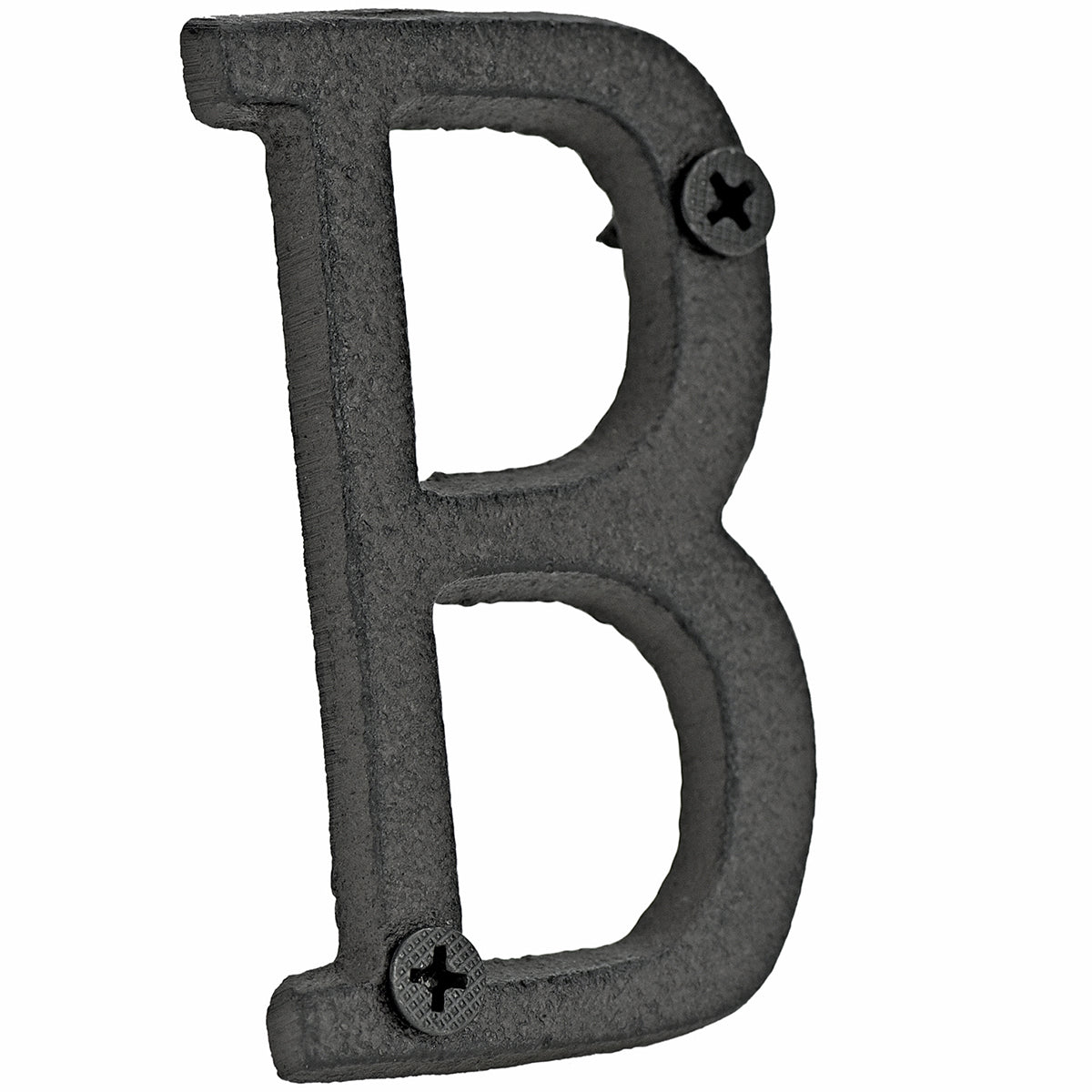 A cast iron house letter sign 'B' with white background