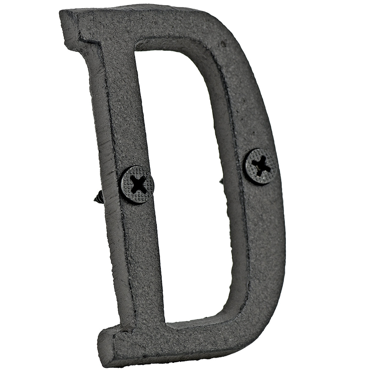 A cast iron house letter sign 'D' with white background