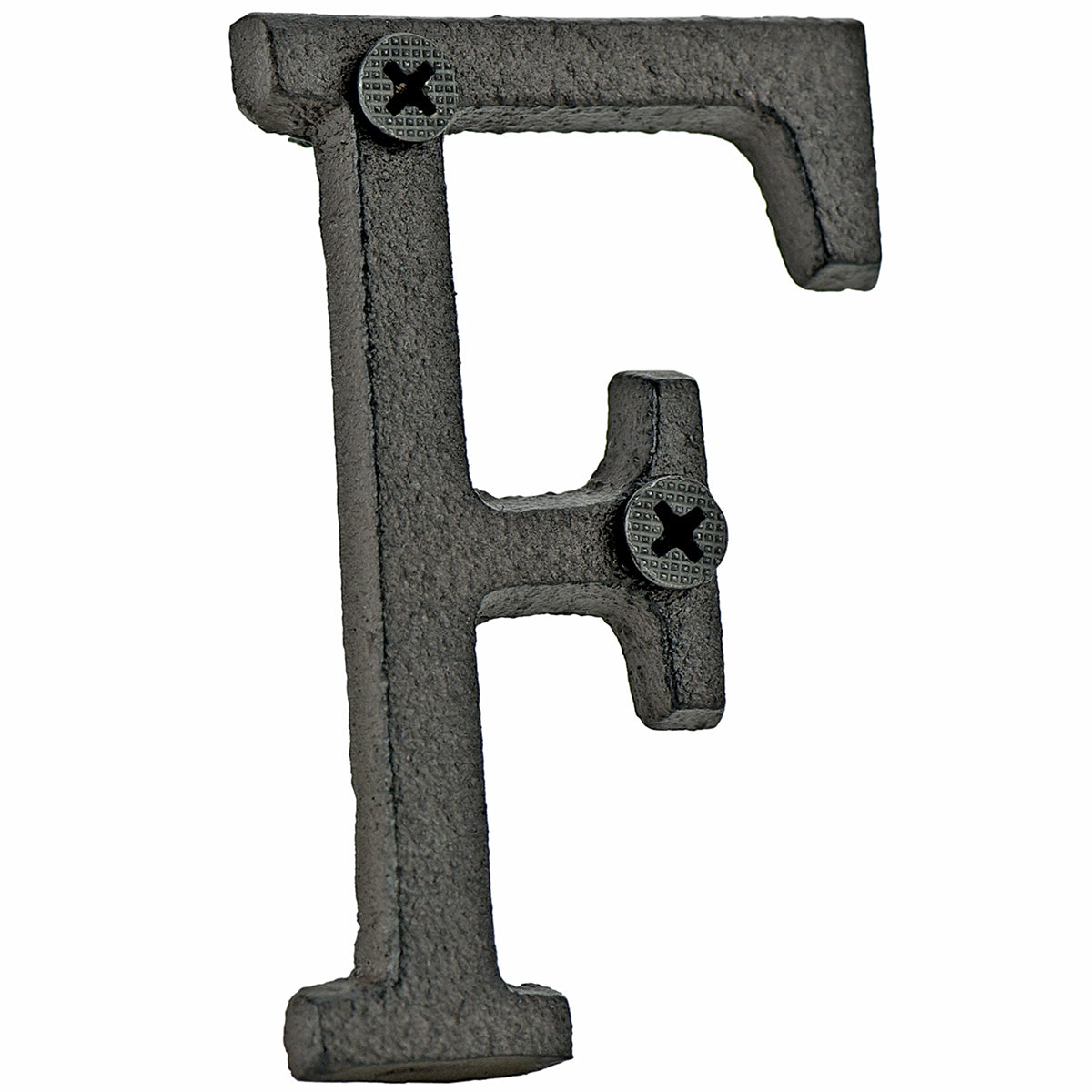A cast iron house letter sign 'F' with white background