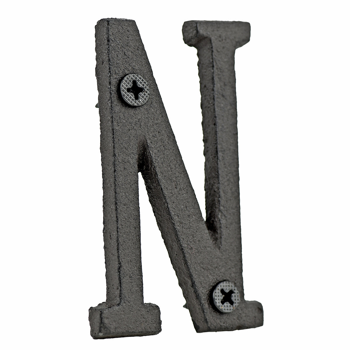 A cast iron house letter sign 'N' with white background