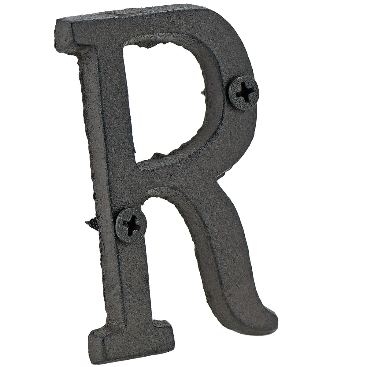 A cast iron house letter sign 'R' with white background