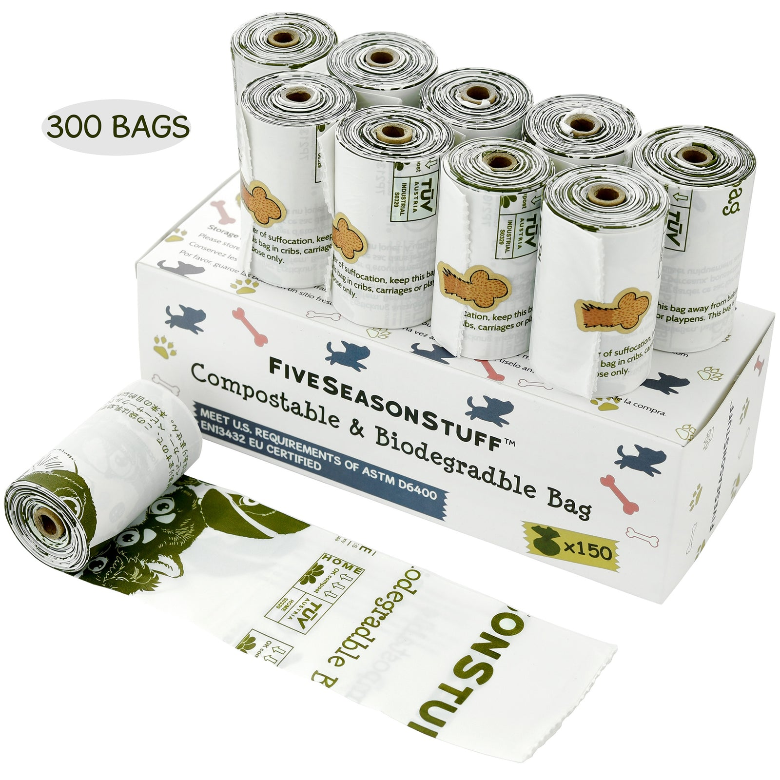 300 Dog Poop Bags (White – Unscented) 100% Biodegradable & Compostable in 3-5 Months