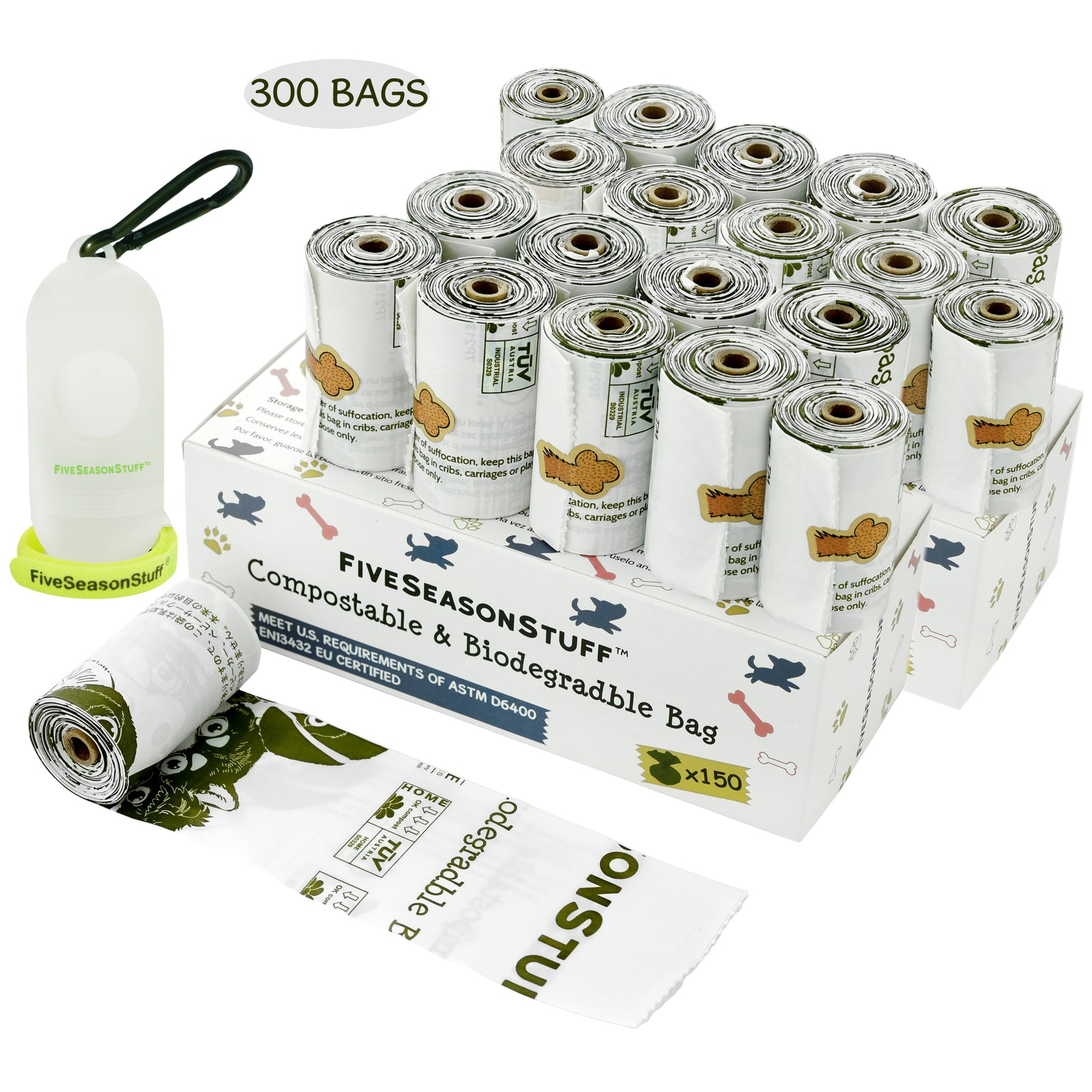 FiveSeasonStuff 300 Dog Poop Bags with Lease Holder (White – Unscented) 100% Biodegradable & Compostable in 3-5 Months
