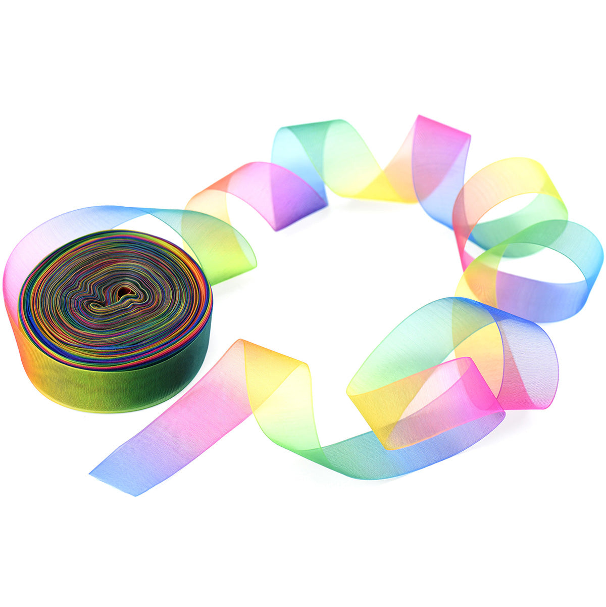 25mm [45 metres/50 Yards] Rainbow Chiffon Gradient Polyester Ribbon | Party Festive Gift Wrap Scrapbooking Decoration