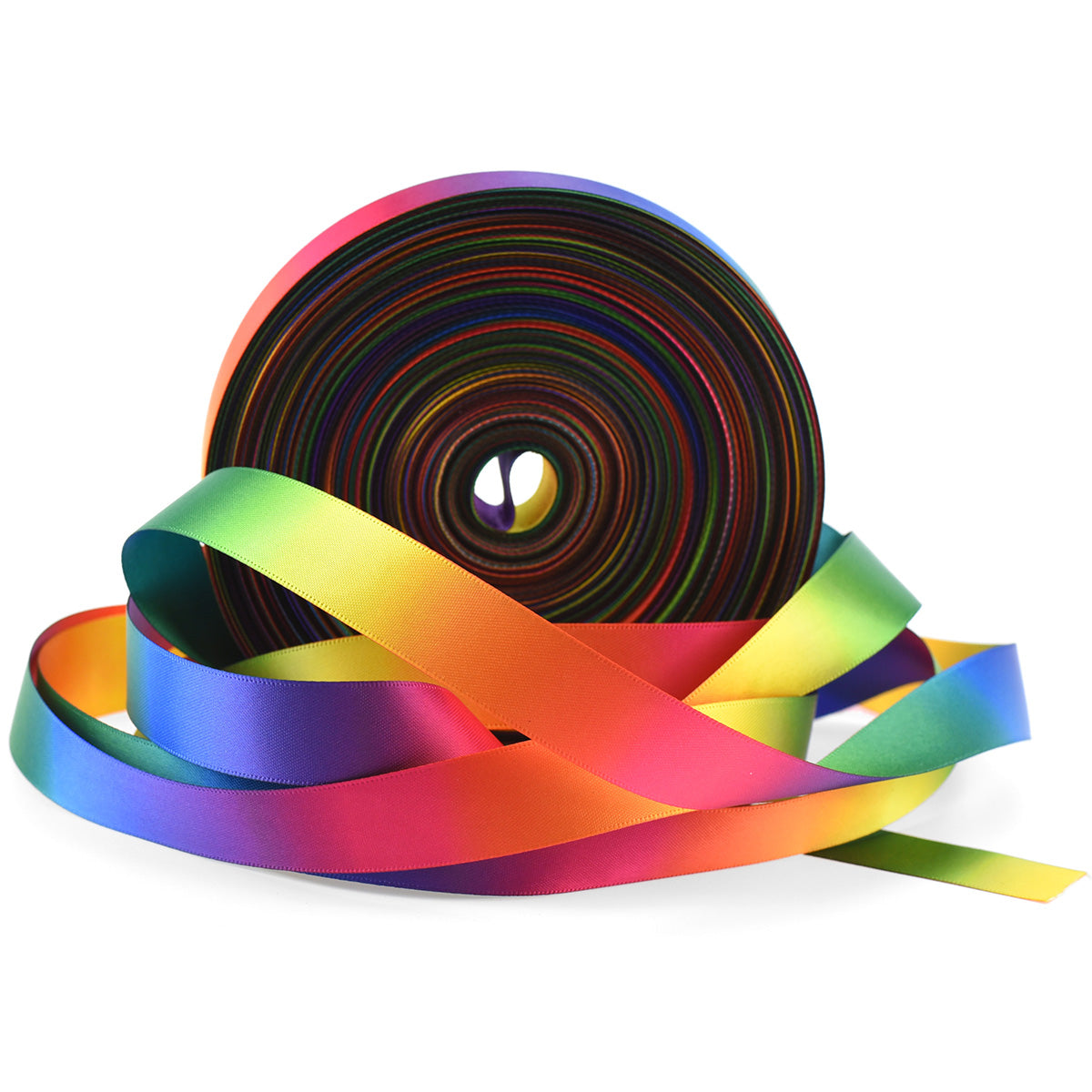 25mm [45 metres/50 Yards] Rainbow Gradient Polyester Ribbon | Party Festive Gift Wrap Scrapbooking Decoration
