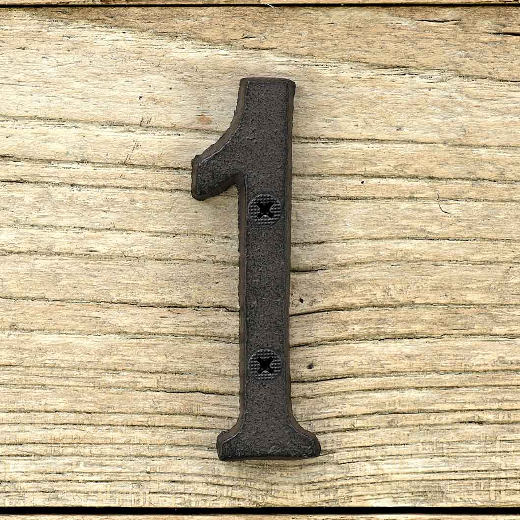 Cast Iron House Number Signs - Number 1