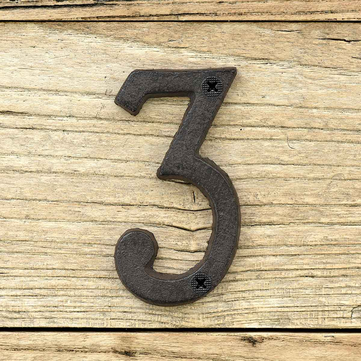 Cast Iron House Number Signs - Number 3