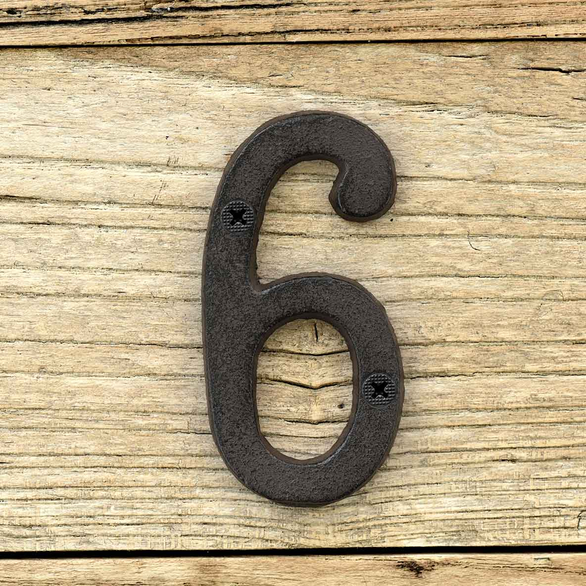 Cast Iron House Number Signs - Number 6